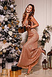 Длинное вечернее платье-макси с пайеткой золотистое, фото 3