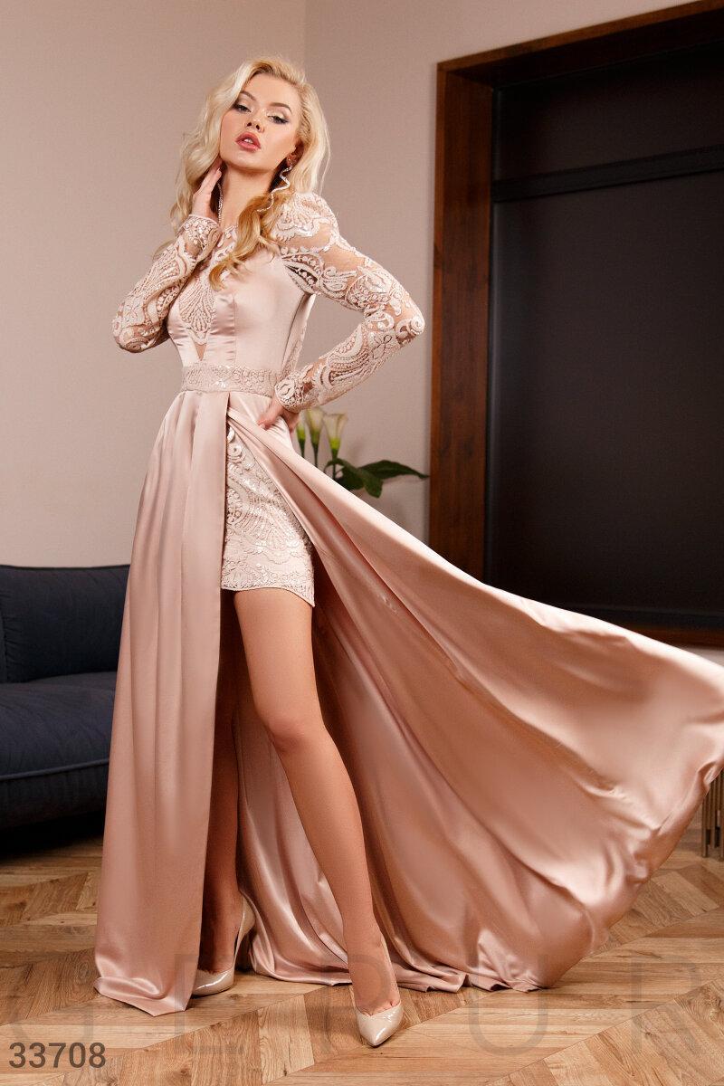 Длинное вечернее платье-макси из легкого шелка