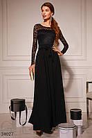 Длинное вечернее платье-макси с кружевным верхом