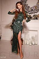 Вечернее длинное платье-макси с высоким разрезом изумрудное