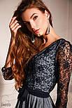 Короткое платье с расклешенной юбкой серебристо-синее, фото 4
