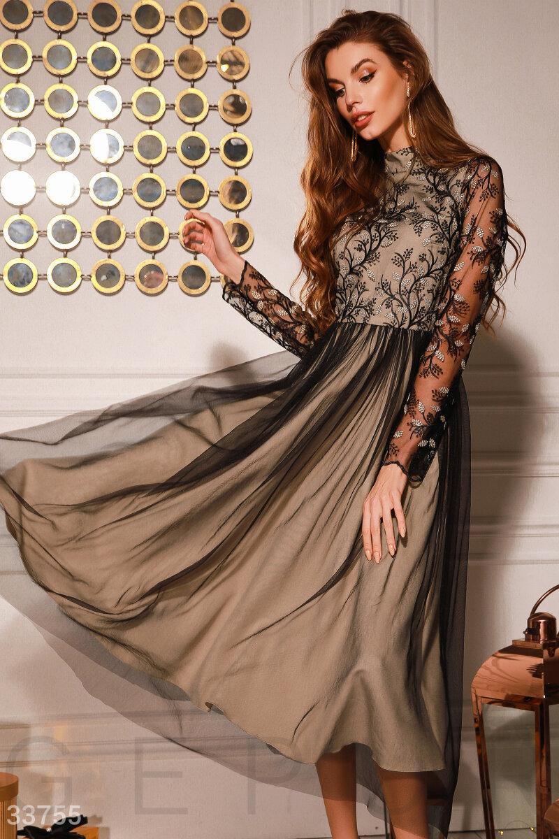 Вечернее платье-миди с кружевным верхом