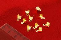 Зажим для лент и шнуров, золотой(10 шт) 77_32