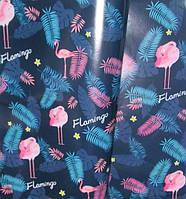 Бумага упаковочная Фламинго 52*75 см, синяя