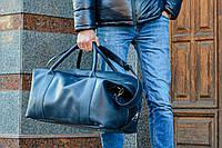 Темно-синяя дорожная сумка, Кожаная спортивная сумка мужская, фото 1