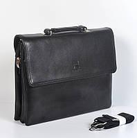 Мужская деловая кожанная сумка через плече/портмоне - Код 6717-6 - (черная)