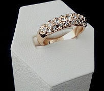 Кольцо Помолвка ювелирная бижутерия золото 18к кристаллы Swarovski elements