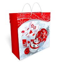 Новогодние пакеты ламинированные 32х32 (Красно белый шары Новогодние) 34.058