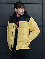 Молодежная желтая зимняя куртка стаф / Чоловіча зимова куртка Staff retro black and yellow KKK0244