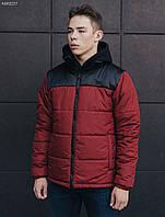Зимняя молодежная красная куртка стафф / Чоловіча зимова куртка Staff retro red and black KKK0237