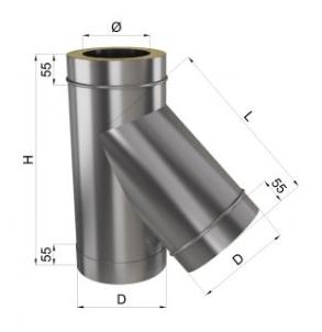 Тройник дымохода 45° нерж\нерж 0,8 мм 130/200