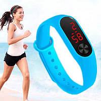 Наручные светодиодные часы Led Watch №2 силиконовые, унисекс, голубые, наручные часы, часы