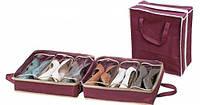Сумка органайзер для обуви Shoe Tote размер 35х35х13см, для 6ти пар, ПВХ, на молнии, Органайзер для обуви, фото 1