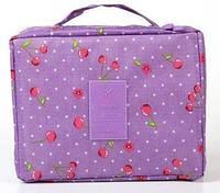 Органайзер - косметичка дорожний Travel размер 21х17,5х7,5см, фиолетовая, на молнии, органайзеры для косметики, косметичка