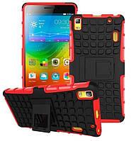 Чехол 2 в 1, бампер накладка для Lenovo K3 note, основа красная, протектор/подставка пластик, черного цвета, фото 1