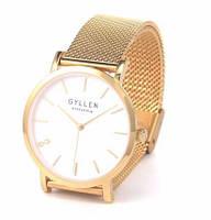 Жіночі наручні годинники Gyllen № 3188 золотистий, кварц, від батарейок, металева сітка, годинники жіночі
