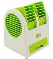 Міні кондиціонер Air Conditioning Cooler USB, зелений, від батарейок, функції освіжувача повітря, Кондиціонер,, фото 1