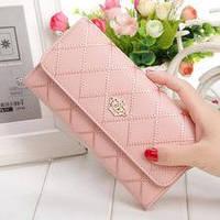 Жіночий стьобаний клатч - гаманець CROWN рожевий, шкіра PU, отеделенія для грошей/дрібниці/карток, портмоне