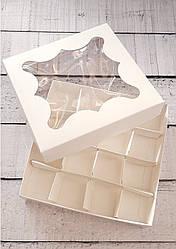 Коробка для конфет с окошком 15*15*3см, белая