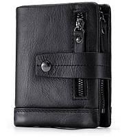 Кошелек кожаный мужской. Портмоне бумажник из натуральной кожи  (черный)