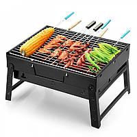 Складной портативный барбекю гриль BBQ Grill Portable №A183 цельнометаллическая опора, сетка, барбекю, мангал, грилі