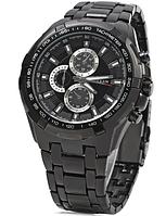 Чоловічі годинники наручні Curren 8023 чорні, кварцові, нержавіюча сталь/ мінеральне скло, від батарейок,