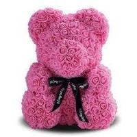 Мишка из искусственных роз на подарок Ted 25см, розовый, Мишка из цветов, Подарок для девушки, ведмедик