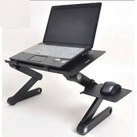 Подставка для ноутбука Laptop Table T8 размер 48х26см, черная, пластик, столик для ноутбуков, подставка под ноутбук