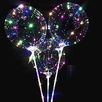 Шарики воздушные с подсветкой Bobo Balloons от батареек, объем 50см, палочка 68см, три режима работы, Воздушные шары, Шары
