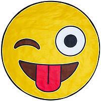 Пляжная 3D подстилка Смайлик желтый, размер 140х140см, Пляжные подстилки, Коврик для пляжа, Подстилки, Покрывало