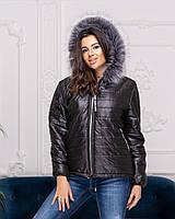 Короткая теплая куртка с капюшоном размеры 48-54