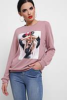Женский розовый свитшот с рисунком