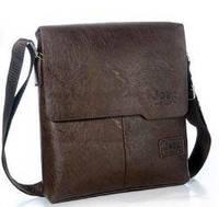 Мужская сумка через плечо Jeep 608 коричневая, PU кожа, на магните, сумки мужские, сумка через плечо, сумки