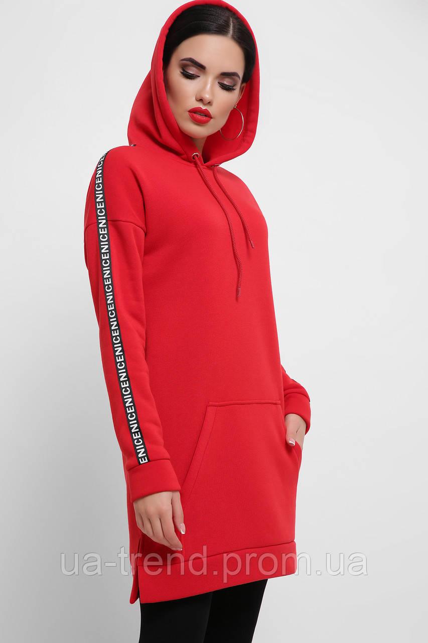 Платье-худи красного цвета с начесом
