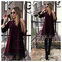 Свободное трикотажное платье удлиненное сзади размер 50-52