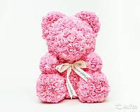 Мишка из искусственных роз на подарок Ted 25см, светло-розовый, Мишка из цветов, Подарок для девушки, ведмедик