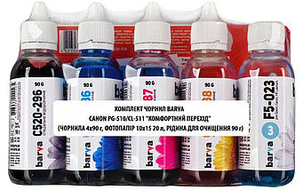 Комплект чернил Barva для Canon PIXMA MP 240/250/260, IP 2700, MX (PG-510/CL-511) +  жидкость + фотобумага, фото 2