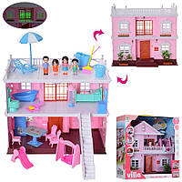 Домик кукольный мебель, фигурки, свет 38-36-20см