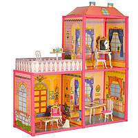 Домик для куклы фигурка, 2 этажа, в кор-ке  60-34-7,5см, фото 1