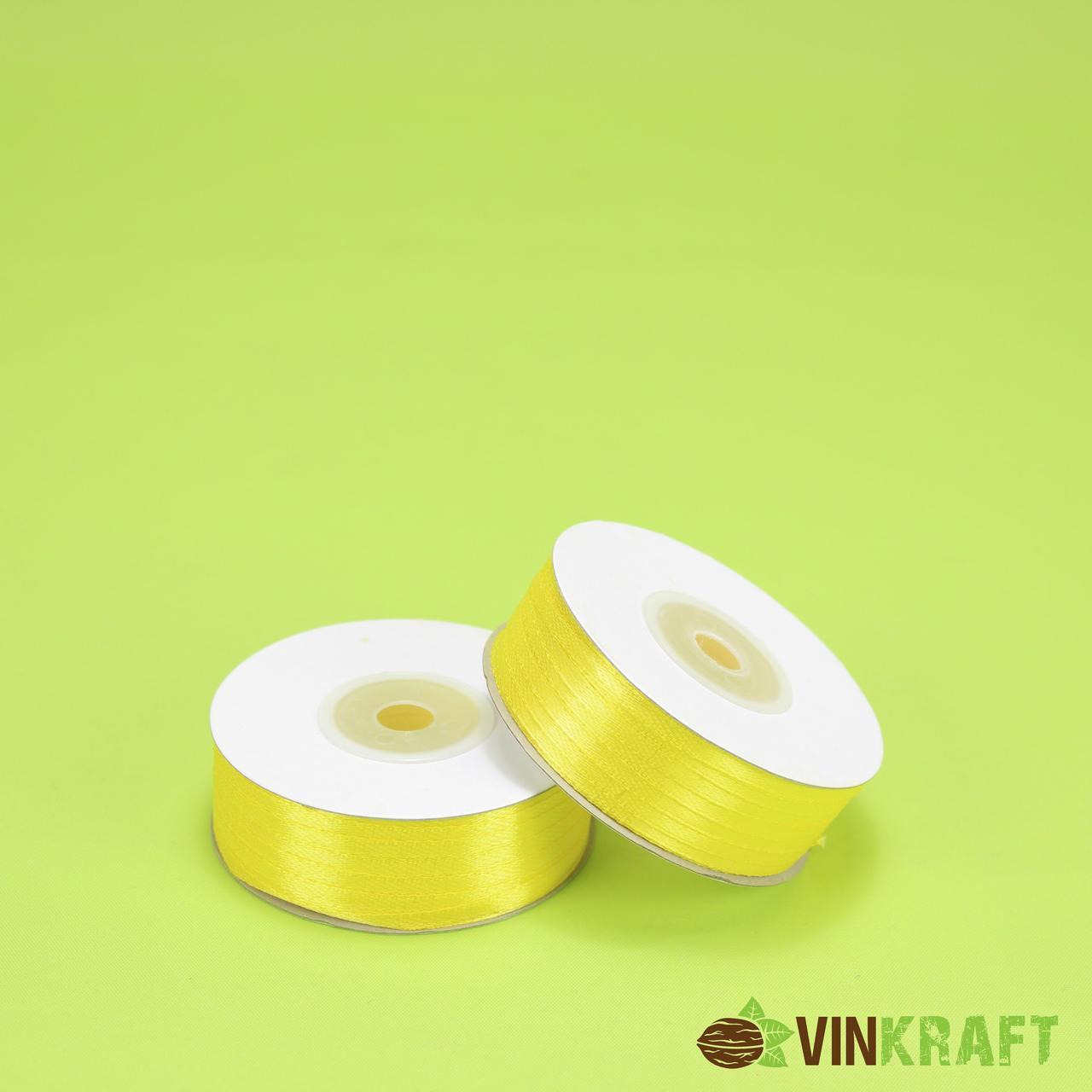 Стрічка атласна 0,3 см (91 м) лимонна