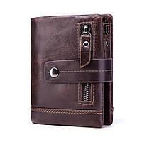 Кошелек кожаный мужской. Портмоне бумажник из натуральной кожи  (коричневый)