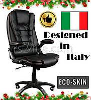 Офисное массажное кресло BRUNO черное с красными швами