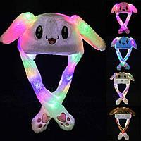 Шапка заяц опт со светящимися ушками которые двигаются, детская шапка, шапка зайца оптом