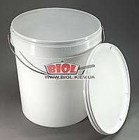 Ведро 20л пищевое (ø31см, h-36см) пластиковое круглое белое с крышкой и металлической ручкой