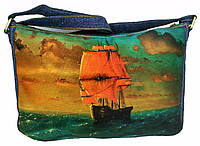 Джинсовая сумка АЛЫЕ ПАРУСА, фото 1