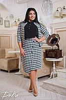 Теплый сделовой женский костюм юбка с пиджаком в клетку, фото 1