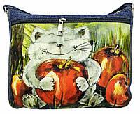 Джинсовая сумка КОТ С ЯБЛОКОМ, фото 1