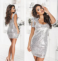 Шикарное платье мини из пайеток-3 цвета 42,44,46,48,50,52,54
