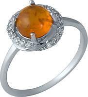 Серебряное кольцо SilverBreeze с янтарем (1988060) 18 размер