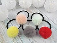 Резинки для волос меховые шарики Ø3.5 см цветные 24 шт/уп.